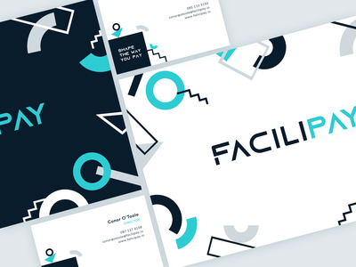 FACILIPAY shapes geometric design business card design simple easy customers innovation payment system loyalty cashless payment method businesscard design branding