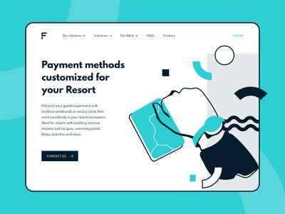 Facilipay for Resorts campaigns solutions payment system wristband order ahead ordering industries self checkout digital wallet cashless logo loyalty customers application mobile illustration app design branding ui design