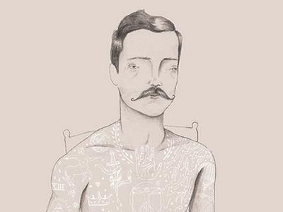 Tattooed Man illustration tattoo tattooed man vintage creepy mustache drawing pencil