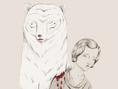 Never Knew Love bear animal blood creepy illustration drawing woman vintage