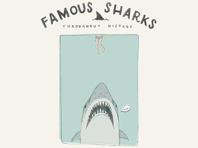Shark Week - Famous Sharks: Jaws jaws shark vintage illustration pencil logo