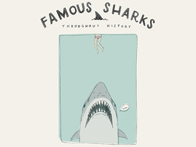 Shark Week - Famous Sharks: Jaws logo pencil illustration vintage shark jaws animal film movie poster drawing