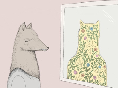 Mirror flowers floral wolf animal illustration drawing pencil
