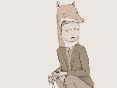 Raised in the Wild wolf animal boy fox drawing illustration pencil rabbit blood