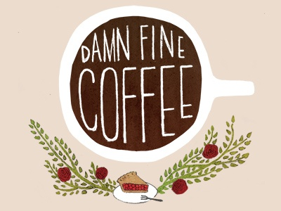 Damn Fine Coffee twin peaks floral flowers logo roses plants watercolor typography handlettering hand drawn illustration