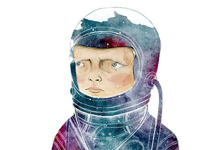 Astronaut astronaut space sky stars boy illustration watercolor pencil