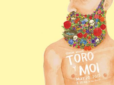 Toro Y Moi Poster watercolor skulls lettering beard poster music flowers illustration