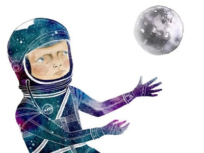 Through Time & Space stars moon watercolor space astronaut