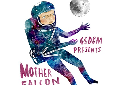 Mother Falcon Poster  lettering music poster stars moon watercolor space astronaut
