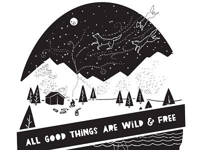 Wild & Free graphic wildlife apparel design typography camping illustration