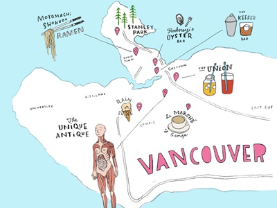 Vancouver Map food anatomical drawing travel graphic illustration