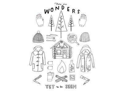 Wonders Yet to be Seen fine line camping food anatomical drawing travel graphic illustration
