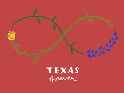 Texas Forever illustration design handlettered lettering bluebonnet yellow rose texas