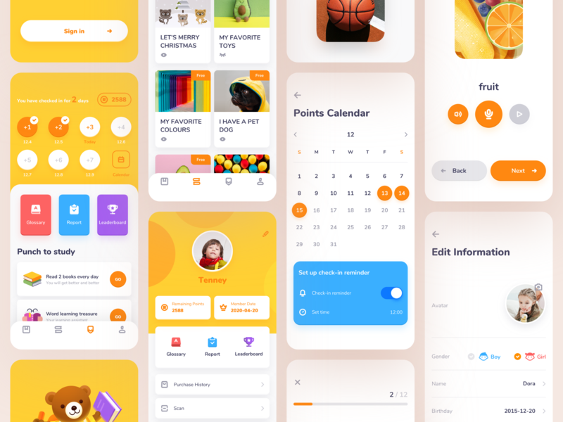 The first part of the ROSEN Learning Reader app home page sign in mobile app design illustration learning english list card membership card calendar report welcome page icon design leaderboard education glossary books animal app