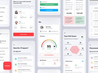 The Upraised App work experience test job resume radar score branding icon ux mobile app design app
