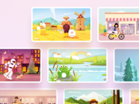 A set of scene illustration design store sheep night city tree detective village countryside dragonfly frog rainbow river mountain education farmer farm robot artificial intelligence illustration
