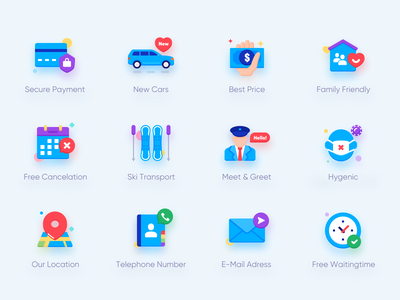 The Icon Design of My Best Transfer waiting time e-mail telephone number location hygienic greet meet transport cancelation family price car payment web ui illustration icon