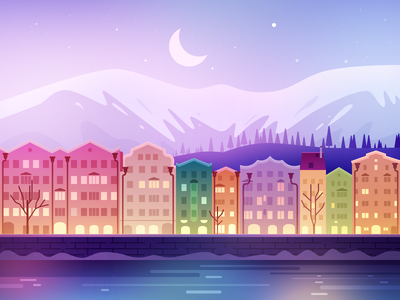 Innsbruck lake river building trees city moon mountain winter illustration