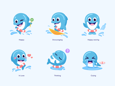 Mascot design expressions cute in love happy branding animal dolphin mascot