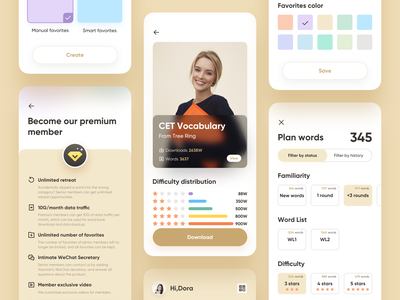 Tree Ring App Part 03 payment download diamond stars filter select color words book member benefits member typography ui ux icon mobile application app