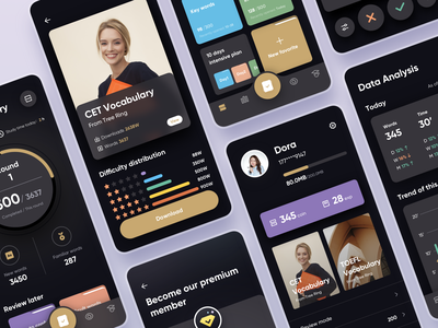 Tree Ring App Dark Mode china download details payment icon design card profile page home page dark app dark dark mode mobile interface design product design ux design ui mobile design mobile ui mobile app design mobile app