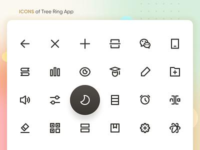 ICONS of Tree Ring App ui app pronunciation clock reading reading app book setting scan interface design interface icons ux design ui design mobile app design mobile app icon design icon