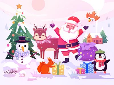 Merry Christmas 2020 santa claus santa clause scenery winter app icon web landscape holiday festival christmas tree bird penguin animal squirrel snowman gift deer illustration