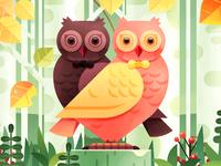 Owl love lipstick package illustration design a4