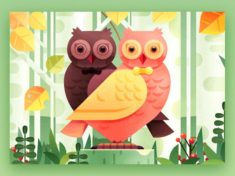 Owl Love Lipstick Package Illustration Design color forest love pet woods flowers trees birches bird animal illustration owl