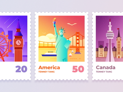 Famous landmark stamp illustration design travel tourism ship parliament hill the cn tower london eye big ben the statue of liberty the golden gate bridge landmarks stamps illustration