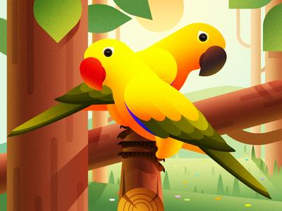 Parrot Illustration Design illustration animal bird birches trees flowers woods pet love forest color parrot