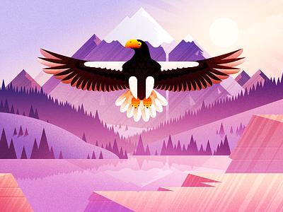 The Eagle Illustration Design scenery animal sun mountain snow sunshine forest trees lake water illustration eagle bird