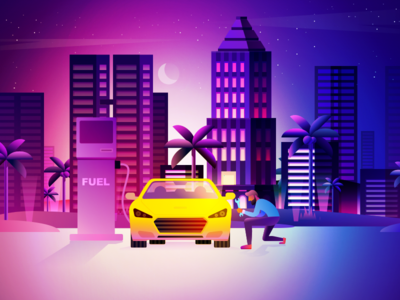 Car Refueling And Maintenance Illustration Design illustration the moon building city night maintenance refueling car