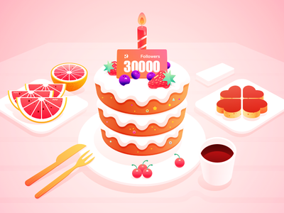 More than 30,000 followers,Thanks for your attention! coffee blueberries cherrystrawberry happy birthday candle oranges grapefruit cake