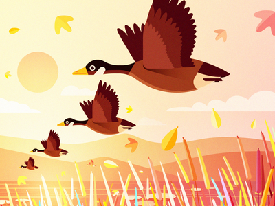 Geese Fly South design animal bird illustration