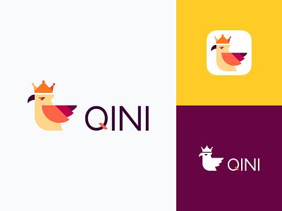 QINI Logo Design birches car mountain color forest design love tree building ios interface crown eagle pet ui animal bird illustration icon logo