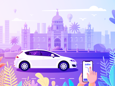 Zabo Illustration ipone car india victoria monument logo building color flowers mountain love icon pet trees ui animal branding forest design bird illustration