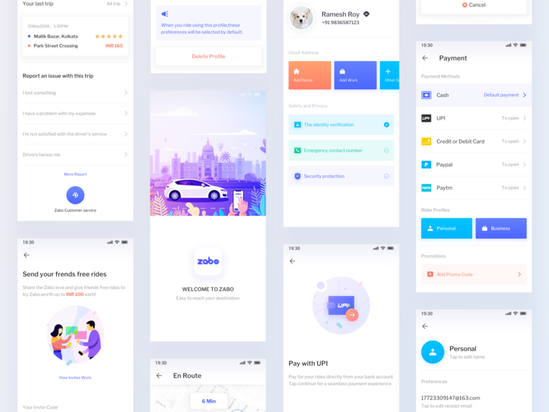 Zabo App V2.0 rides payment building trees design typography color animal map ui ux ios car web branding logo illustration android app icon