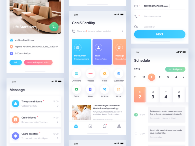 The Main Interface Design Of Gen 5 Fertility home app web branding the order notice message schedule customer service the calendar the hotel ios logo medical clinic ux typography icon ui illustration