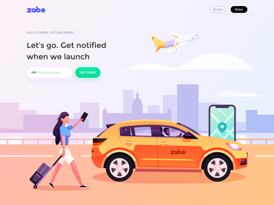Zabo Rider Illustration Design zabo love web app color logo ux branding lake surface and reflection mobile phone and map white clouds and sky airplane and car architecture and city passengers and drivers take a taxi design building illustration ui icon
