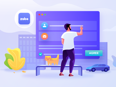 Fill In The Partner Form color dash board display board clouds sky zabo man mail icon logo pet tree city fill in form building car cat animal illustration