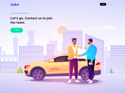 Zabo Illustration For Driver car ux ui branding sky clouds man taxi join rider driver web tree city contract building illustration