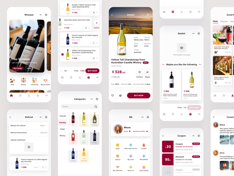 Winease illustration logo comment basket category list coupon order app winery cards bottle red wine wine icon ui mobile