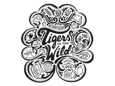 Tigers in the Wild fun custom craft washington seattle hand done ink pen illustration