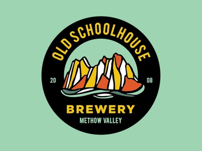 Old Schoolhouse Brewery Branding schoolhouse hops moutains color system illustration design craft washington seattle branding beer