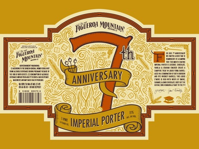 Fig Mtn 7th Anniversary Label california beverage beer washington seattle design product packaging