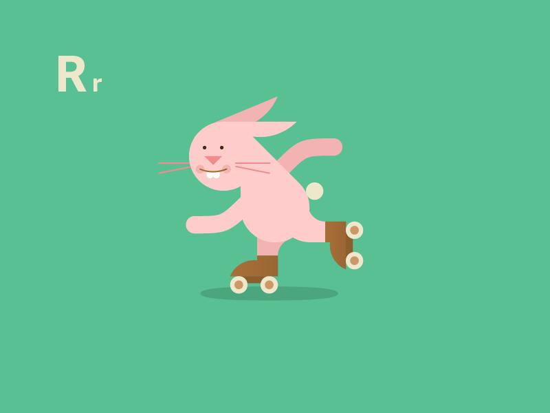 Roller Skatin' Rabbit rabbit roller skating alphabet animals cute vector flat