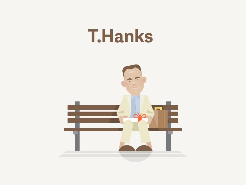 T.Hanks tom hanks caricature forest gump vector flat thanks