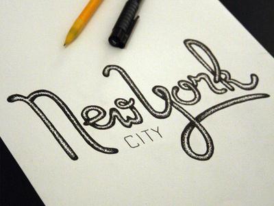 New York City handtype type typography new york illustration