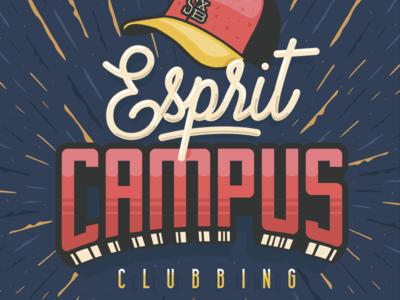 Esprit Campus pattern clubbing vintage retro illustrator illustration vector logo identity letters lettering logotype
